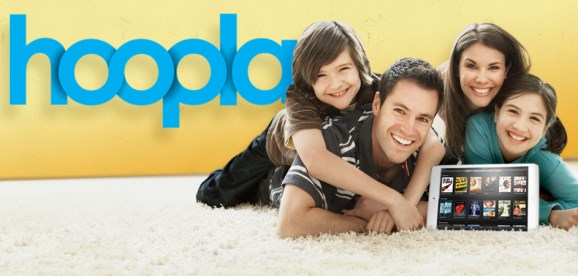 Hoopla logo with happy family