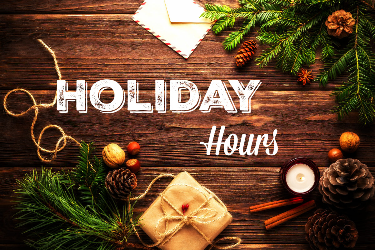 Holiday Hours sign